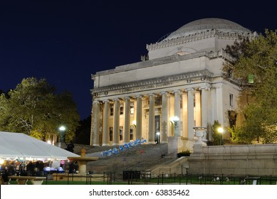 Low Memorial LIbrary of Columbia University at night in New York City.