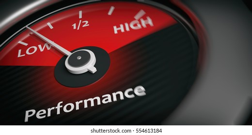 Low performance on car indicator, close up view. 3d illustration