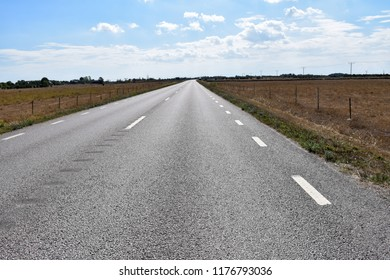 Low perspective image of an asphalt road through a wide grassland at the swedish island oland