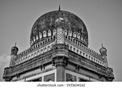 Low perspective shot of the tombs of Mohammad Quli Qutb Shah at Ibrahim Bagh, Hyderabad, India