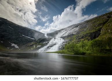 Low perspective sotefossen waterfall long shutterspeed Norway