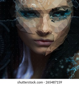 Low poly abstract portrait of a beautiful girl. Cybernetic Futuristic Concept for your Design.