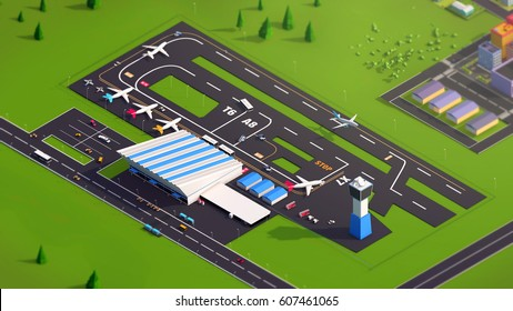 Low poly airport 3d illustration
