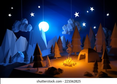 Low Poly camping adventure landscape. 3D Illustration.