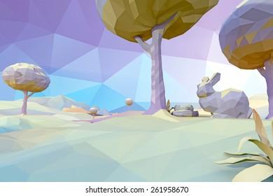 Low Poly Easter Landscape 3D