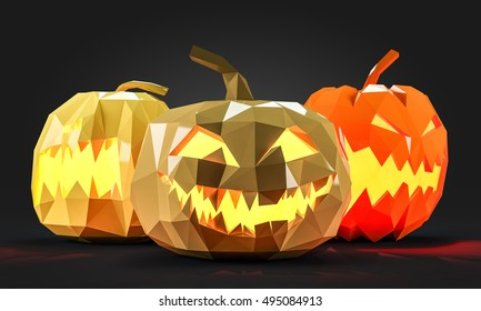 Low poly Halloween pumpkins 3d rendering