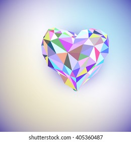 Low poly heart isolated on white background. Geometric rumpled triangular low poly origami style gradient graphic illustration. polygonal design for your business.