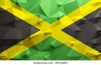 Low poly illustrated Jamaica flag. 3d rendering.