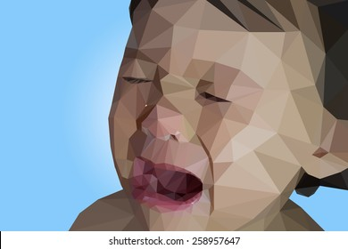 Low Poly Portrait Of A Crying Baby Boy