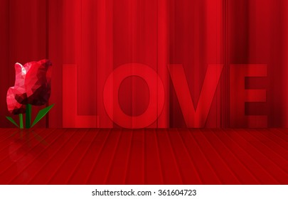 low poly red tulips and word love on red floor stage and curtain