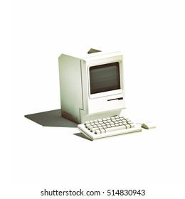 Low poly retro computer isolated on white background