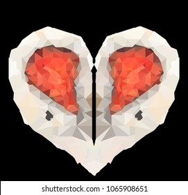 Low polygon art of two pieces of sushi forming a heart shape