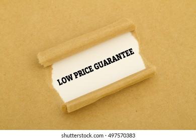 """Low price guarantee"" written under torn paper."