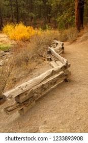 Low rail fence along trail, Lava Island, Deschutes River Trail, Bend, Oregon