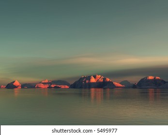 low red sunlight on some rocky islands with an early morning mood
