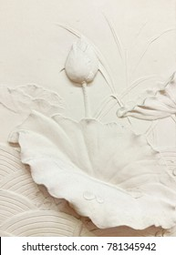Low relief cement Thai style handcraft of lotus flowers