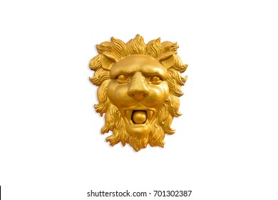 Low relief sculpture of golden head lion on white background.