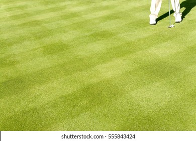 Low section of a golfer with golf club and ball on grass
