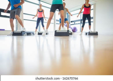 Low section of instructor with fitness class performing step aerobics exercise in gym