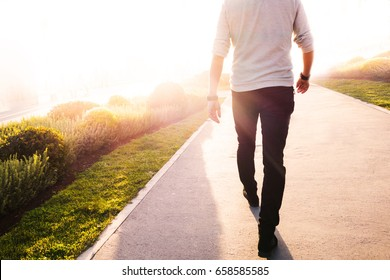 Low section of a man walking in the park