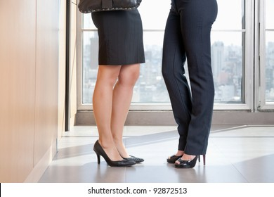 Low section of two female executives in high heels standing in office
