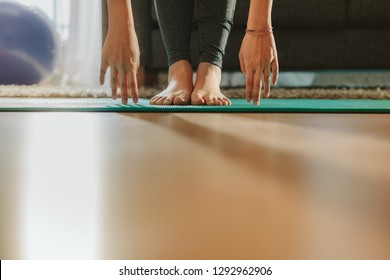 Low section view of female exercising indoors. Feet of women bending down with hands touching the floor. Cropped shot of female feet and hands bending forward and training on mat at home