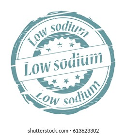 Low sodium rubber stamp on white background.