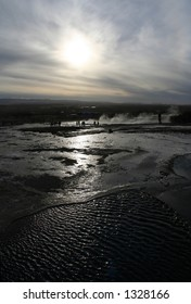 Low sun over Geysir in Iceland