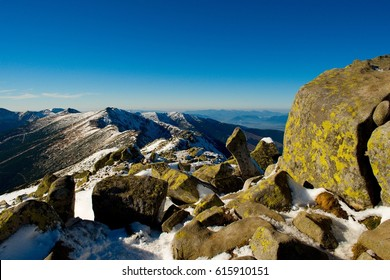 Low Tatras main ridge landscape in winter. Beautiful mountains in Slovakia