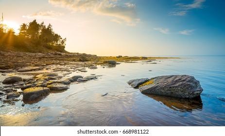 Low tide along Nova Scotia's coastline Canada