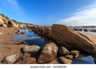 Low tide exposes incredible rock formation