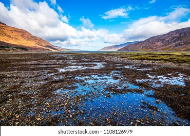 Low tide at Little Loch Broom. The sea washes the lower edge of the huge Scottish peak - An Teallach. This beautiful area is rich in wildlife on the salt marsh.