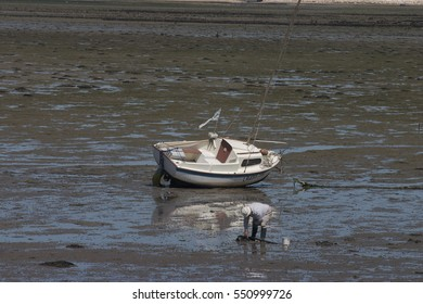 Low tide with motorboat and man looking for clams.
