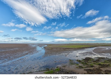 Low tide on the causeway at Holy Island, Northumberland, England.