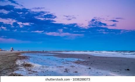 Low tide on Galveston beach.