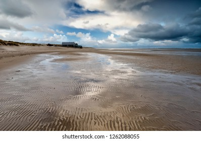 low tide on North sea beach, Netherlands