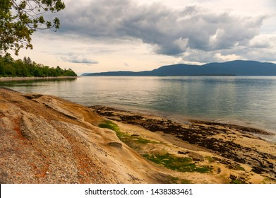 Low Tide in the San Juan Islands of Puget Sound. At low tide the sandstone rocks of Lummi Island are revealed with Orcas Island in the background.