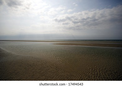 Low Tide. Sandy Ocean Floor - Low water at the Danish Wadden Sea National Park