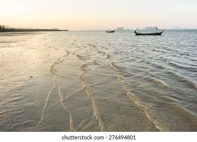 low tide at sunset on Andaman sea, Thailand