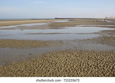 at low tide: view of the huge North Sea beach, between Nieuwpoort and Oostduinkerke Belgium