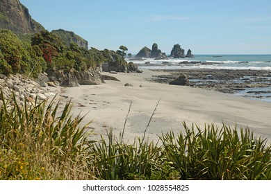 low tide at a West Coast beach, South Island, New Zealand