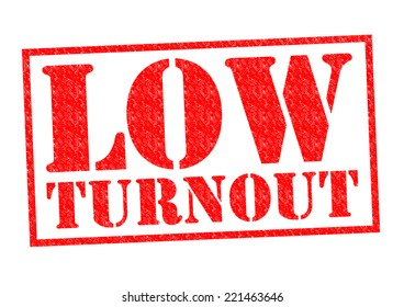 LOW TURNOUT red Rubber Stamp over a white background.