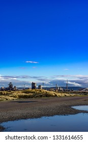 Low view above a puddle. South Gare. Located on the north east coast of England.