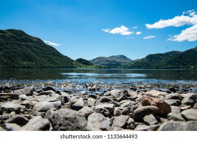 Low view of Ullswater lake in The Lake District, Cumbria