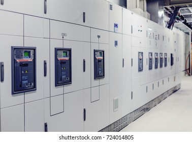 Low voltage switchgear at power plant. Electrical switchgear. Industrial electrical switch panel of power plant