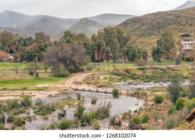 Low water bridge over the Tra Tra River at Wupperthal in the Cederberg Mountains of the Western Cape Province. Sheep are visible