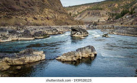 Low Water Levels in the Thompson River near Spences Bridge in British Columbia, Canada