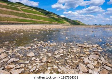 Low water on the Rhine near Bingen/Germany