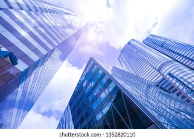 Low-angle city scenery, Hong Kong, China. Context of modern city.
