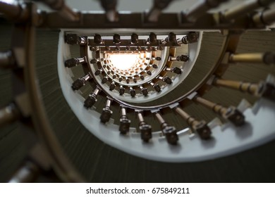 Lowangle photography of a spiral staircase